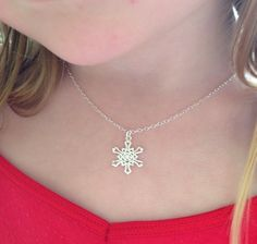 Sterling silver snowflake necklaces.  These Sterling silver snowflakes are 18mm x 15mm x 1mm.  The Sterling silver chains are 40cm (16 inch) long, but Im