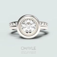 1.0ct Round Diamond in a new SPRING 2017 engagement ring design with matching eternity band. #madeincanada #canadiandiamonds #ethicalfashion #canadianfashion #bridal #wedding #ottawabride #ethicallymade #chaylejewellery