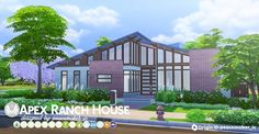 Simsational designs: Apex Ranch - A Mid-Century Home • Sims 4 Downloads