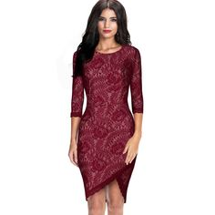 Jour Floral Lace Wine Red Dress