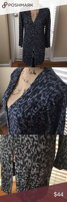 DG2 Navy Blue Leopard Print Long Sweater Gorgeous. Worn twice and got so many compliments. 60% cotton  and 40% rayon. Beautiful piece💝 True medium. DG2 Sweaters Cardigans