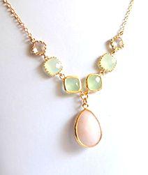 Peach and Mint Wedding Jewelry.