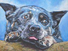 Australian Cattle Dog blue heeler art print CANVAS print of LA Shepard painting 12x16 on Etsy, $39.99