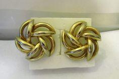 "Vintage 1980 Large Round Swirls Gold Tone Earrings Post Back 2"" round #Avon #PostDropLargeHuggie"