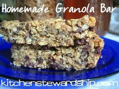 Homemade Granola Bars- I used almond flour to replace white flour. A bit crumbly, but still taste really good. No sugar added!