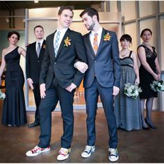 hipster grooms and coordinated, but not matching the bridal party