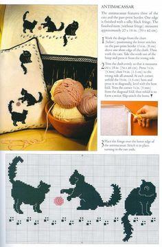 cross stitch cats, kettir