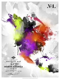 World Art Group, Abstract Map - North America, Mikael B. Design