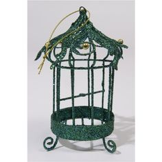 Kersthanger Vogelkooi met smaragdkleurige glitters