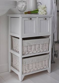 Bathroom storage Basket Side View Of The White Bathroom Storage Furniture With Large Willow Drawers And Wooden Drawers Pinterest 1917 Best Bathroom Storage Cabinets Images In 2019 Bathroom