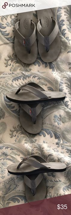 """0db9c0fd3b4c ⭐️SALE⭐️Gray Rainbow Flip Flops Gray Rainbow Flip Flops. Size Medium.  6.5-7.5. 1"""" Leather Strap. 10"""" Length. Single Layer Arch. Great Used  Condition."""
