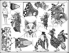Plate 922 - $21.95 for 12 unmounted deeply etched pink rubber stamps @ vlvstamps.com! Perfect for all your whimsical needs.. a chicken, an elephant with a gas mask, a zombie girl, an owl, a row of cats, a fox and much more!