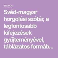 Svéd-magyar horgolási szótár, a legfontosabb kifejezések gyűjteményével, táblázatos formában.