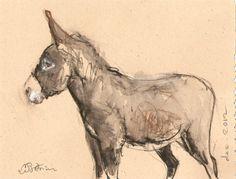 AQUARELLE - Original watercolour painting - wall art - Âne - Braderie de Noël donkey painting peinture âne Donkey Art