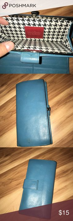 HOBO Blue leather wallet Soft blue leather Hobo wallet with button closure. Leather does have some staining. HOBO Bags Wallets
