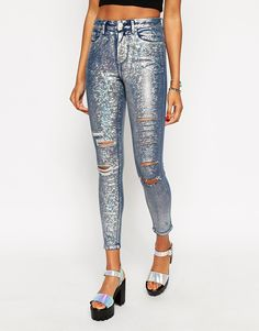 ASOS Ridley High Waist Ultra Skinny Ankle Grazer Jeans in Holographic Foil Print with Rips
