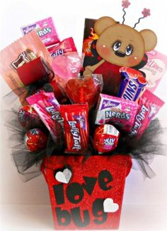 Happy valentines day sugar free gift basket by gift baskets etc world of miniature bears rabbit 5 mini mohair bunny sparse white negle Gallery