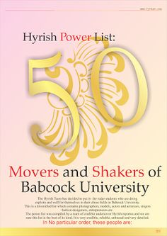 Hi! It's Hyrish Blog: Hyrish Power List: 50 Movers and Shakers of Babcoc...