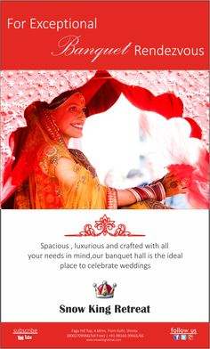 For Exceptional Banquet Rendezvous'. Spacious, luxurious and crafted with all you needs in mind, our Banquet hall is ideal place to celebrate wedding . www.snowkingretreat.com  #snowking #shimla #kufri #fagu #himachalpardesh #hotel #resorts #wedding #chandigarh #weddingplanning #wedding #hotel