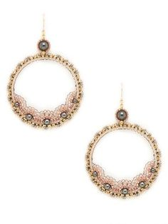 Rose & Hematite Open Circle Drop Earrings by Miguel Ases at Gilt