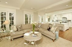 Love layout living room off of kitchen