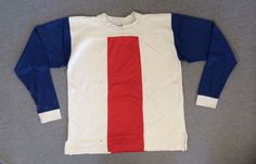 Vtg CHAMPION Jersey 1970's Blue Bar Motorcycle Motocross Shirt Blank USA RW&B #Champion #Jerseys