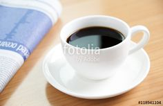 Black coffee on office table background