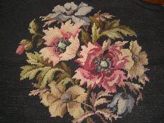 "Lovely Vintage Wool Floral Needlepoint on Black Center Design 12 x 12"" | eBay"