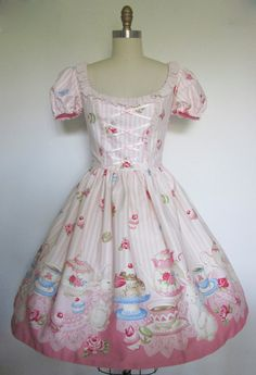 Sweet Lolita Pink Stripe Bunny Tea Party OP Dress.