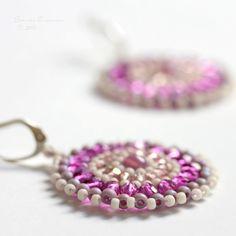 Sevilla Beaded Discs Magenta Pink and Cream Earrings