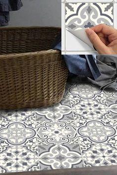 Tile Stickers - Decal for Kitchen/Bathroom Back splash/Floor: - Wohnideen - Painted floor tiles Linoleum Flooring, Bathroom Flooring, Floors, Painting Bathroom Tiles, Bathroom Tray, Bathroom Mirrors, Wood Flooring, Tile Decals, Vinyl Decals