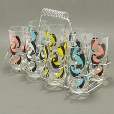Mid Century Abstract Leaf Tumblers w Carrier Vintage