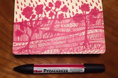 4/365, 2016 | Promarker red | Tid: 0,50 h | #micaelawernberg #illustration #promarker #red #rouge #trees #pattern #forrest #hills #graphic #pencil #drawing #365project #365 #cityofbirds #art #artoftheday #mountain #moleskine #handdrawn #drawingoftheday #moleskinesketchbook #enomdan2016 #artoftheday