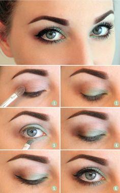Para o verão, a tendência é sombra verde. Moda maquigem 2014. Veja esse lindo tutorial. light green eyeshadow tutorial