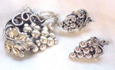 Silver Tone Bunch of Grapes Pin and Clip Earrings  Vintage #Unbranded