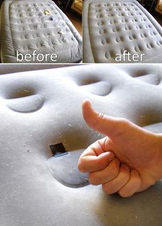 Is that a leak in the air mattress I hear? Don't worry, you can fix your air mattress with an ordinary bicycle inner tube repair kit and some sandpaper, all in less than 10 minutes! Diy Wood Projects, Home Projects, Repair Cracked Concrete, Diy Mattress, Watch Diy, Home Fix, Diy Patches, Diy Home Repair, Nail Holes