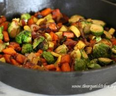 Brussels sprouts, sweet potatoes, yellow squash, bacon and onions, sauteed and finished with balsamic glaze