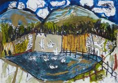 Flood and Birds . oil emulsion and collage on paper . 31 x 44cm . 1996 . Rosey Priestman