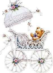 teddy in carriage
