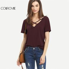 COLROVIE Crisscross Front T-Shirt Casual Tee 2017 Women V Neck Burgundy  Summer Tops Fashion 638953f179aa
