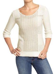 Women's Mixed-Gauge Open-Knit Sweaters | Old Navy