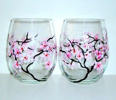 Items similar to Hand Painted Wine Glasses Spring Wedding Cherry Blossoms Set of 2 / 20 oz. Stemless Wine Glasses Wedding Anniversary Pink Light Pink White on Etsy Wine Glass Crafts, Wine Craft, Wine Bottle Crafts, Wine Bottles, Bottle Painting, Bottle Art, Glass Painting Designs, Wedding Wine Glasses, Hand Painted Wine Glasses