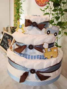 Baby boy shower diaper cake!   See more party planning ideas at CatchMyParty.com!