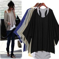 2pc Casual Fashion Women Loose T-Shirt Blouse+Tank Vest Plus Size M/L/XL/XXL