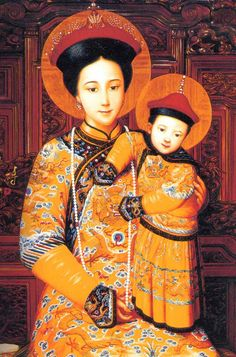 (Mother of God, Queen of China, painted by Chu Kar Kui (Held at the North Church, former Jesuit Cathedral, Beijing, China)T