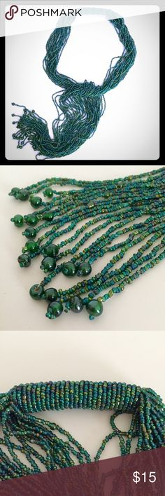 "Ten79LA - Green Beaded Scarf/Necklace Featuring stunning beads and a sleek silhouette, this scarf/necklace is sure to catch compliments! 3"" wide x 32"" long. Never worn! In search of a new home! Ten79LA Accessories Scarves & Wraps"