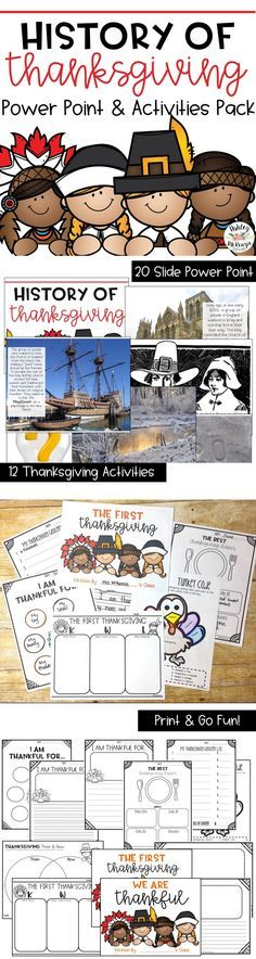 A Lesson on the first Thanksgiving and the history of why we celebrate it! Includes a power point and Activities.