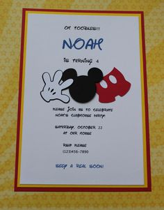 Mickey Mouse Party Invitation by handmadewithlovnessa on Etsy, $18.00