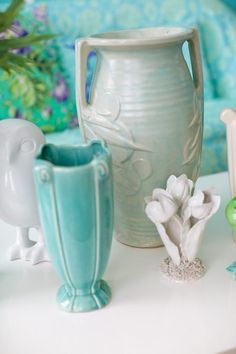 I fill my house with pottery in these soft colors for summer.  Such a beautiful way to add color and still keeping the vintage touches I love and adore.
