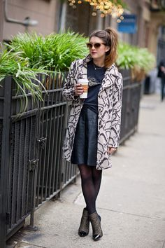 New York City Fashion and Personal Style Blog: Cat-eye sunglasses, faux fur jacket, vintage tee, leather pencil skirt, zipper booties